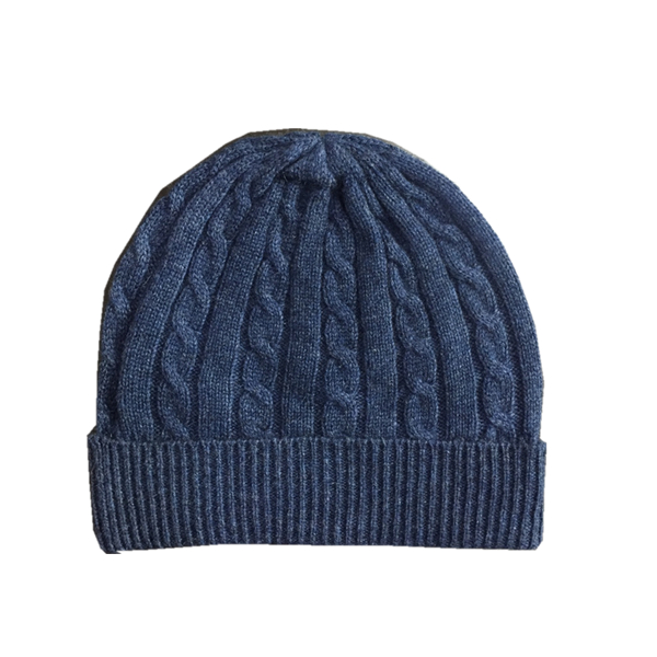 Striped&Cable Knitted Cashmere Beanie