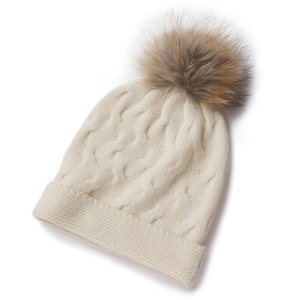 IMfield Natural Series, Cable Knit Cashmere Fox Fur Pom Pom Beanie