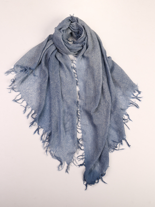 Cashmere Tassels Plain Muffler Shawl, Faded denim
