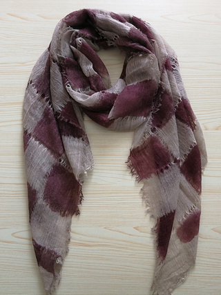 Cashmere Hollow Out&Checked Scarf