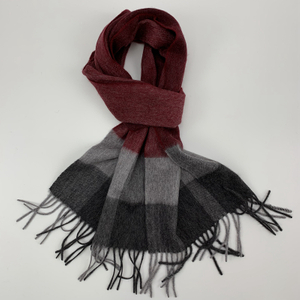 100%Cashmere Checked Scarf, Red&Grey